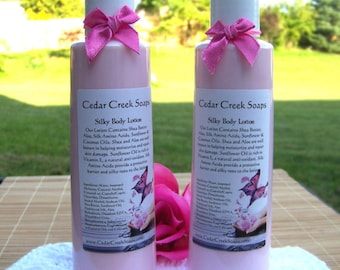 LOTION ~ Coconut Lime Verbena type Lotion with Silk and Shea Butter Lotion 8 oz Bottle Natural