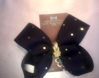Navy and Gold polka dot twisted boutique 5 inch bow on lined alligator clip