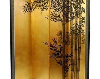 5.5 ft. Tall Gold Leaf Bamboo Asian Room Divider Screen