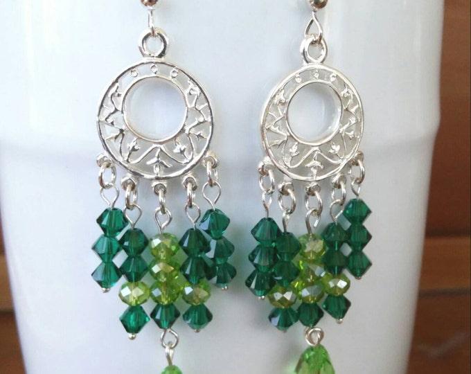 Swarovski Chandelier Crystal Earrings, Long Wedding Crystal Earrings, Elegant Green Dangle Earrings, May Emerald birthstone earrings