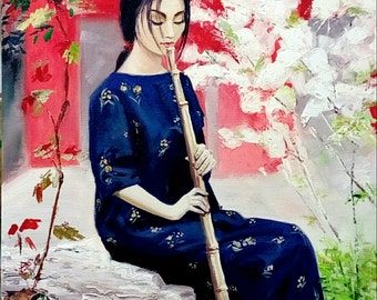 A girl with bamboo flute 60x60 cm 2017 Original oil painting on cotton canvas Asian musician girl Interior Decor Bright color Unique gift