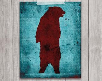 Grizzly Bear Art Print - 8x10 Animal Print, Wall Art, Red, Animal Art, Home Decor