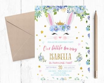 Floral Bunny Invitation, Bunny Second Birthday Invitations, Bunny Birthday Party Invitation, Spring Bunny Invitations, Spring Bunny Invite,