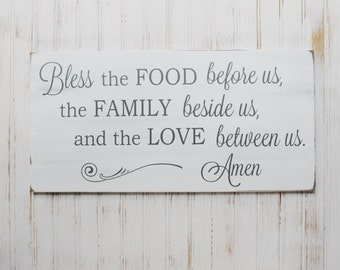 Bless The Food - Family - Love Wood Sign Grace Thanksgiving Prayer Home Decor Painted Wood Sign