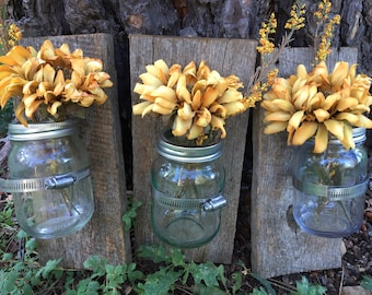 Mason jar  wall decor, hanging mason jar wall vase , rustic barnwood wall sconces, farmhouse decor, set of 3 wall vases; barnwood sconces,