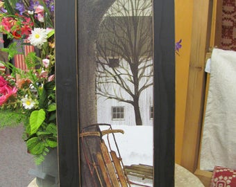 Winter Wall Art,Vertical Wall Art,Sled,Billy Jacobs,Handmade Distressed Frame,81/2x221/2