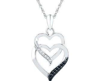 10k White Gold Pendant, Two Hearts Necklace With Black Diamond, Necklace For Women