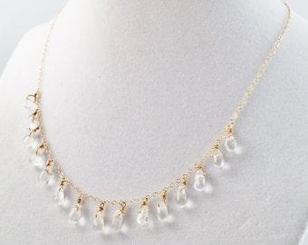 Clear Dangle Drop Necklace - Quartz Drop Statement Necklace - Quartz Bib Necklace - Quartz Drop Necklace - Delicate Gold Necklace