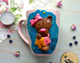 bear,baby,sweet,little girl,bow,star,golden star,for you,mug,cup,ceramic,polymer clay,pink,gift,mother's day,for her,wishes,present,birthday