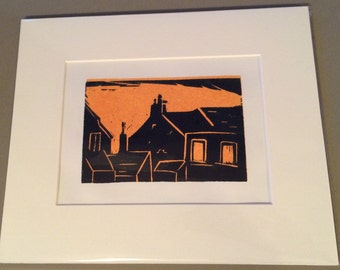 Lino Print - Terraced Houses