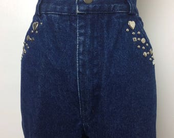 Vintage 80s Jeans/ 80s High Waist Dark Wash Jeweled Denim/ Medium