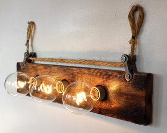 Light Fixture Bathroom Vanity - Weathered, Hanging Rope Pulley for Wall, Mirror (3) Bulb Handmade in MI