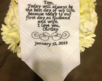 Lovely gift for Groom.  Embroidered Handkerchief for groom Wedding Keepsake