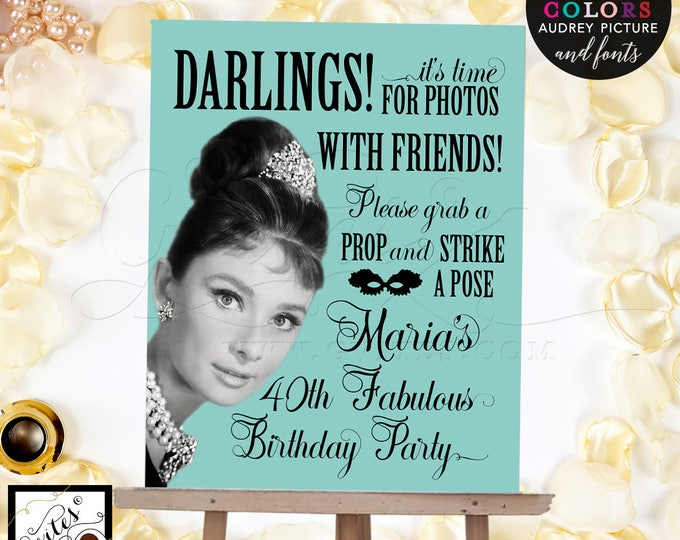 """Audrey Hepburn Party Signs, Photo Booth Sign, Bridal Shower or Birthday, poster, wall art, CUSTOMIZABLE Audrey Picture, Colors & fonts 8x10"""""""