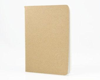 KRAFT BLANK SKETCHBOOK - a5 24 Page Kraft Stitched Sketchbook with Blank Off-White Pages and Back Flap Pocket (21cm x 14.9cm)
