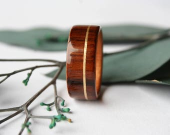 Men's Wooden Wedding Band - Wooden Ring made of Cross-Grain Santos Rosewood and Curly Cherry Wood with a 14k Yellow Gold Inlay