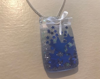 Shimmering Blue Star Jar Pendant Necklace