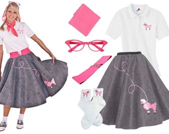 6 pc 50's Adult POODLE SKIRT Outfit-(S-XL)