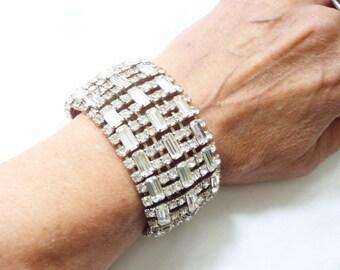 Art Deco Rhinestone Cuff Bracelet - Bridal Bride Wedding Jewelry - Old Hollywood - Vintage 1930s Crystal Bracelet - Glamorous Jewels