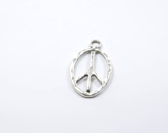 1 large silver peace charm