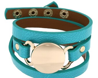 Modern Trendy Adjustable Snap Button Personalize Engraved Fashion Wrap Leatherette Bracelet
