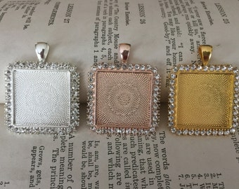 1 inch Square Rhinestone photo memory pendant setting for necklaces, bridal bouquets  Silver, Rose Gold, Gold Wedding Gift for Bride