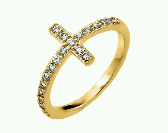 925 Sterling Silver Yellow Gold Plated Sideways Cross Ring Size 5,6,7,8,9