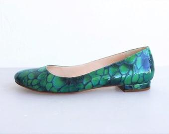 MARTINI OSVALDO Patent Leather Green-Teal Flats size 9 IT 39