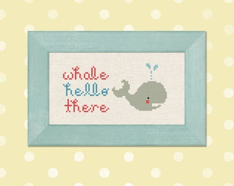 Whale Hello There Cross Stitch Pattern. Pun Modern Simple Cute Cross Stitch Pattern PDF File. Instant Download