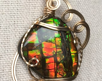 Ammolite Pendant - Stained Glass Pattern