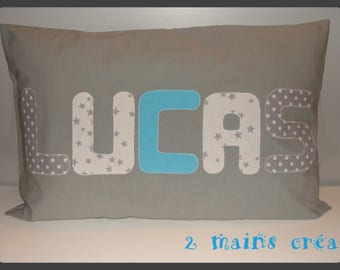 Cushion cover gray 60/40 with name (made to order)