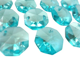 25 Light Aqua 14mm Octagons Chandelier Crystal Beads Antique Green