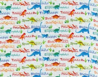 Dinosaur Names Cotton fabric