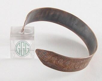Bracelet - Patinated Wide Copper Cuff  (B085)