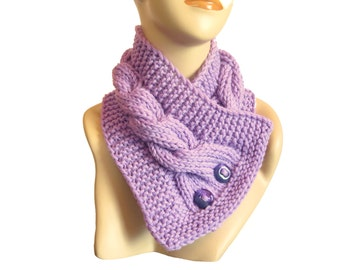 Hand Knit Purple Button Cowl, Chunky Wool Cable Scarf, Neck Warmer, Winter Accessories, Gift For Her, Knit collar,