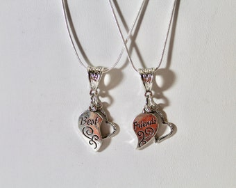 Best Friends Necklace Set on Silver Chains, Girlfriend Gift, Best Friend Gift, Valentine's Day Gift, Gift For Her, Gift Set