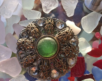 Unique, Vintage,  upcycled brooch, with a green sea glass nugget set in, 1930's brooch, gold coloured metal