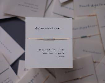 Friendship Bracelet - Aquamarine - Friendship bracelet on Silk - Mustard