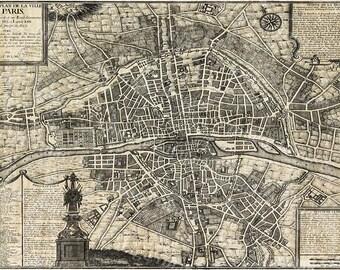 old paris map restoration decor style map of paris historic old world map street map of paris france circa 1705 wall map large paris map