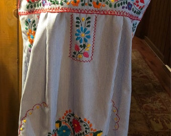Puebla hand embroidered pillow ticking dress!  Size large! FREE SHIPPING!