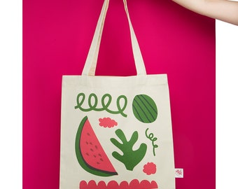 Watermelon Tote Bag with fruity illustration for zero waste shopping, 100% natural cotton