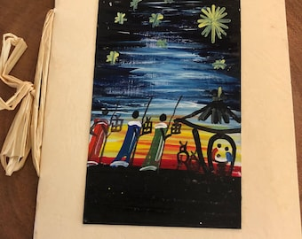 Hand painted Christmas card - three wise men - c6-67
