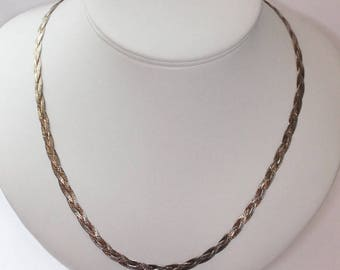 Sterling Braided Necklace Italian Silver 20 inch Two Color Vermeil Gold Wash Silver