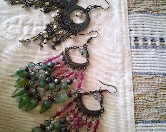 40% off Three Pairs Boho hanging Earrings - Vintage