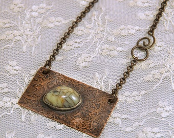 Etched Copper Necklace with Dendritic Opal