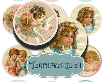 """Shabby Chic Vintage Angels- 2.5"""" circles Collage sheet - Pocket mirrors, tags, scrapbooking, cupcake toppers"""