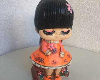 "Vintage kitsch Mod neon chalkware coin bank cute girl 8"""
