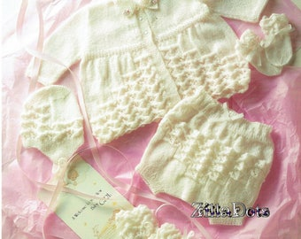 Baby Knitting Pattern - PDF Download - First Size Matinee Set knitted in 2 ply yarn.