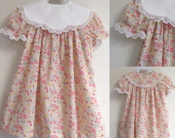 Baby dress, baby bishop dress with collar removable, white collar detachable, baby dress with collar detachable, baby floral dress, bishop