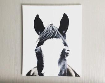 "Listening"" original acrylic horse painting"
